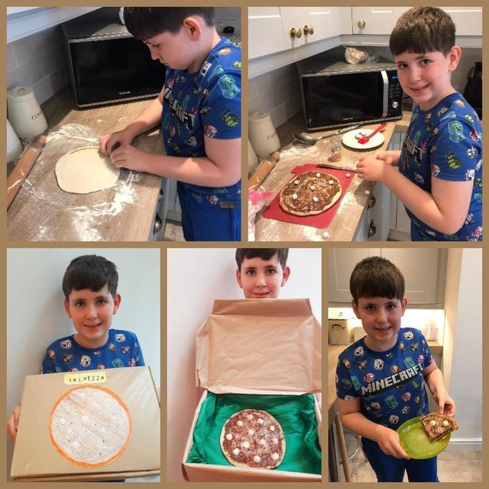 Elliott's pizza looks delicious!