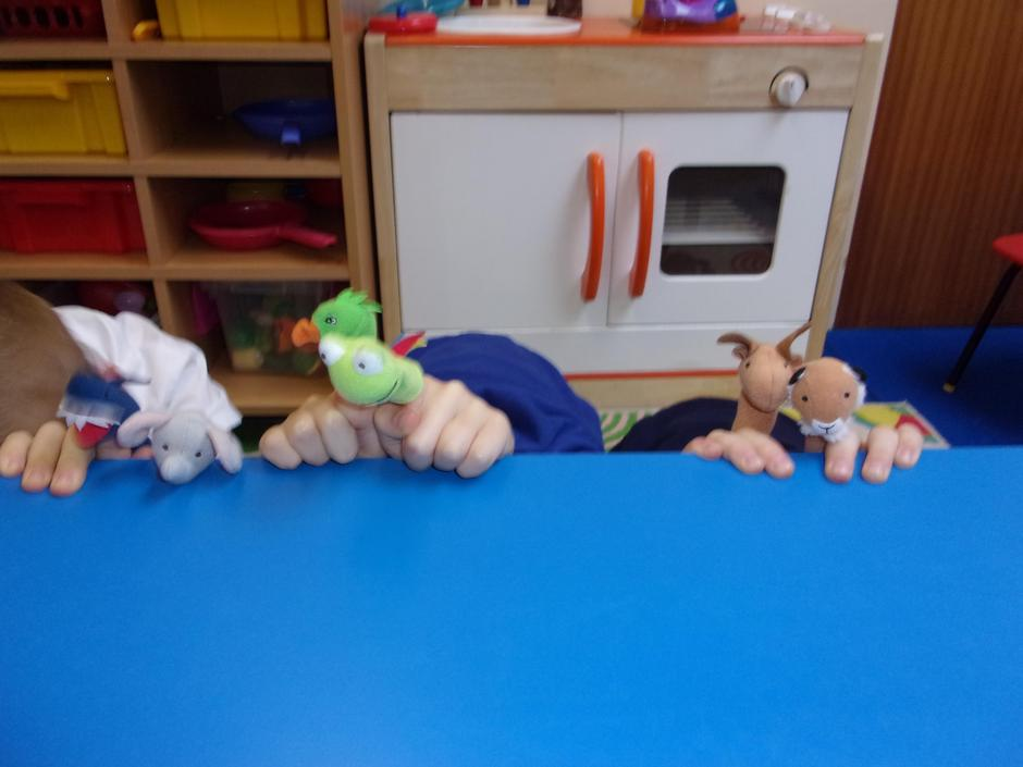 Using the puppets for a show for the children to watch