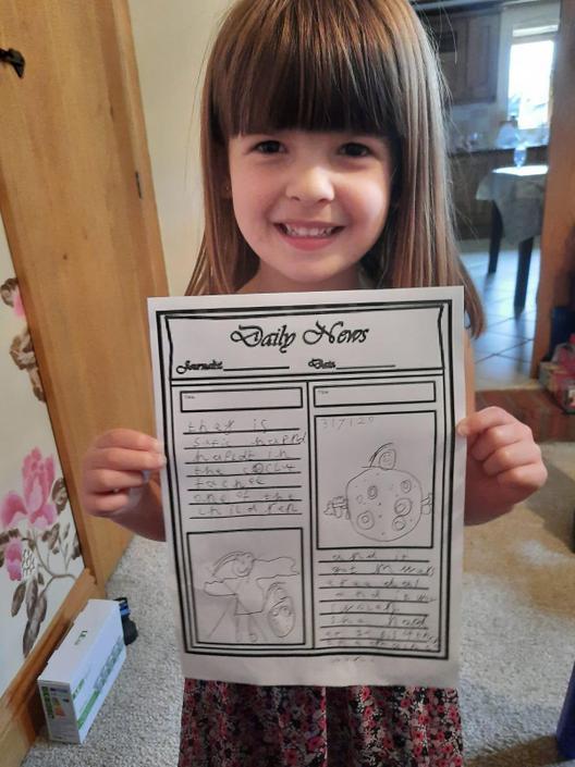 Rosie wrote her own newspaper article.