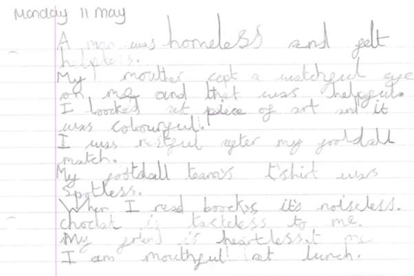 Some great literacy work Henry