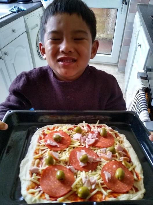 Pratik has been busy making his own pizza...