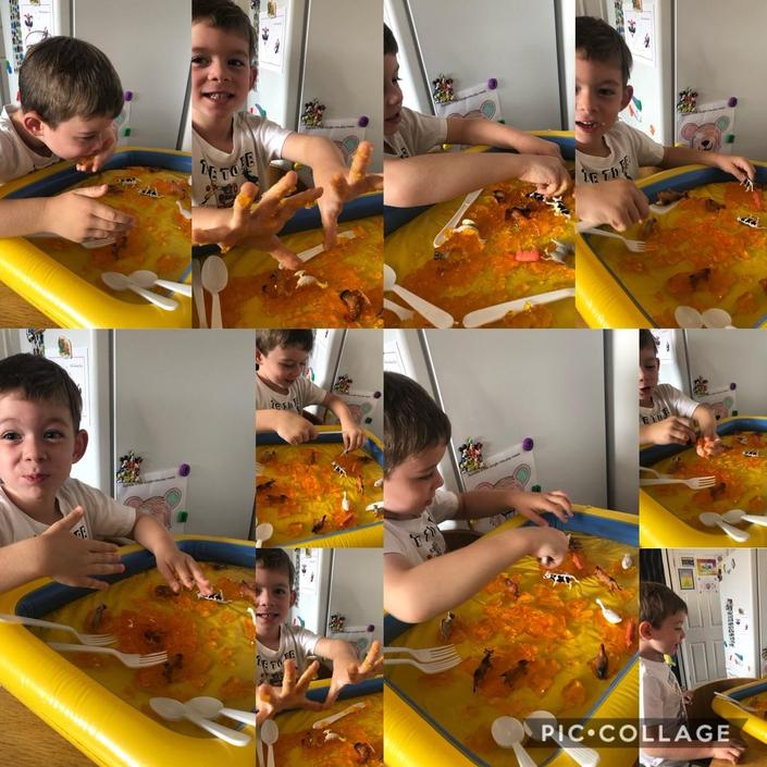 Jelly messy play for Noah