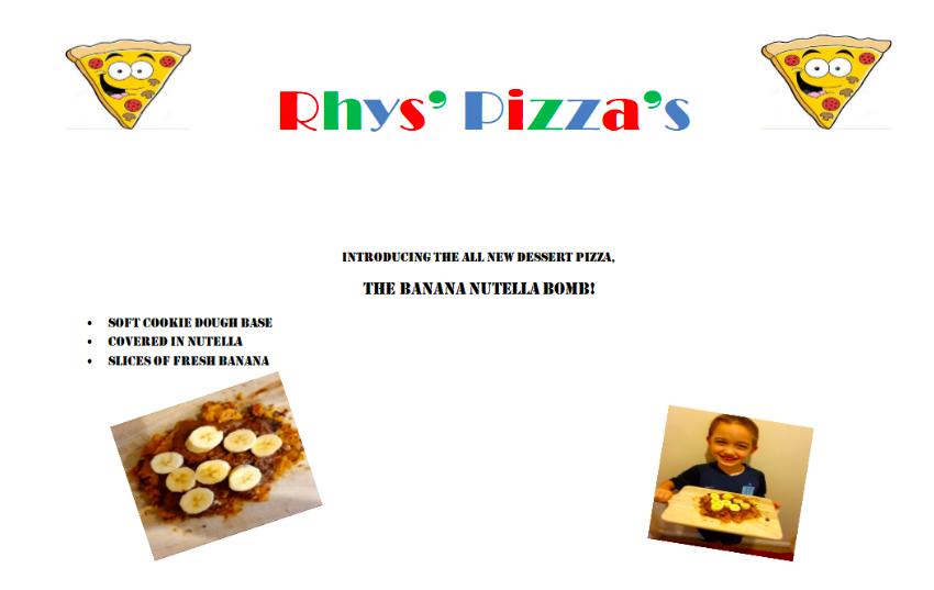 Rhys' 'Banana Nutella Bomb' Pizza
