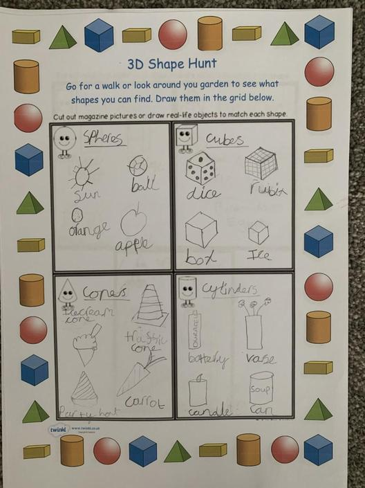 Violet has been busy learning her 3D shapes