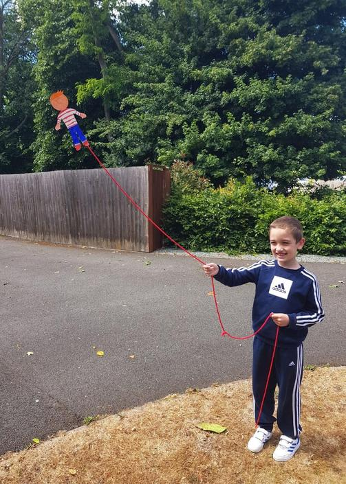 Rhys made a kite of Flat Stanley
