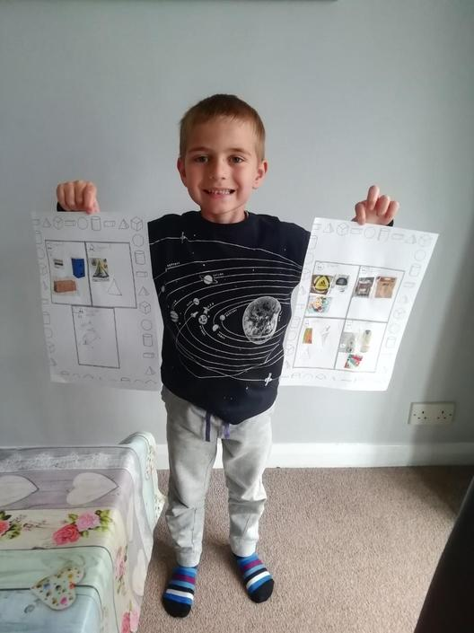 Sam has been busy learning about 3D Shapes