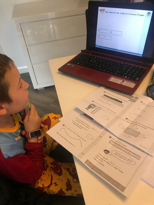 Harrison is working hard on his maths this week.