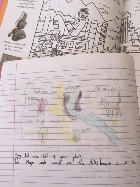 I love this drawing of the Mayan habitat! Look at the drawings and the fantastic detail in the climate description!