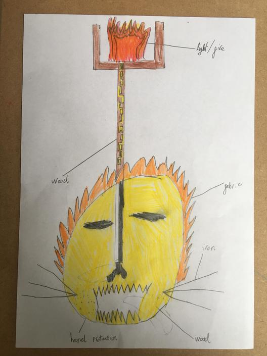 Look at this Maya lamp design! 	It has a carved lion head to protect the user as well as a patterned pole! Keep sending in your pictures I love them!