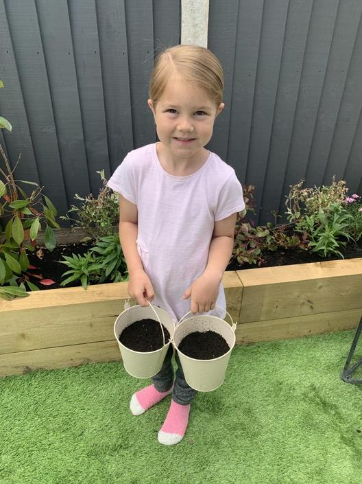 Well done Violet - a little gardener in the making