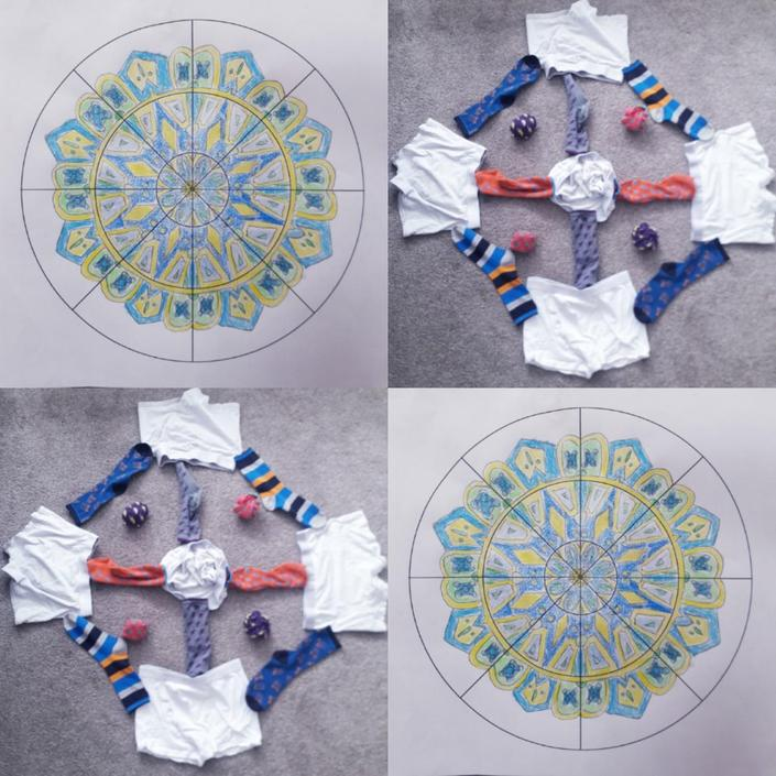 Elliott has made a fab 'Pants and Socks' Mandala!