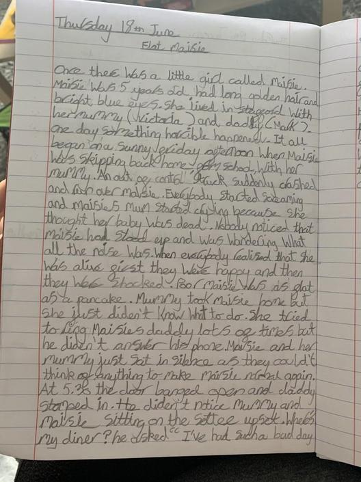Noah has really worked hard on his story this week