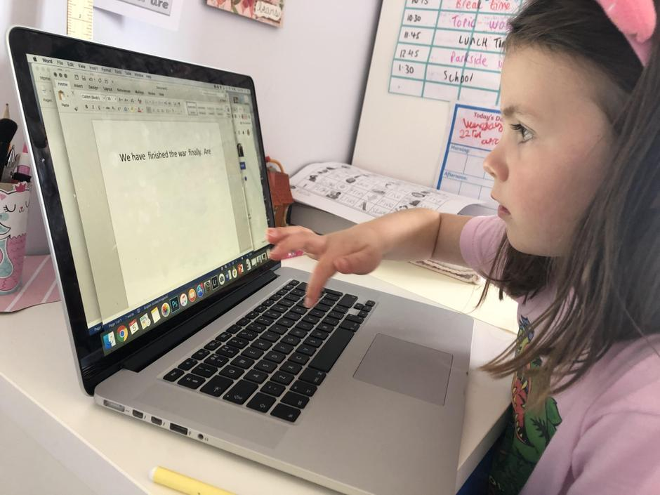 Persie typing her victory speech for VE Day