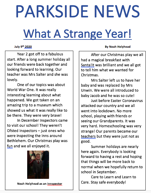 Noah has written a fabulous news article.