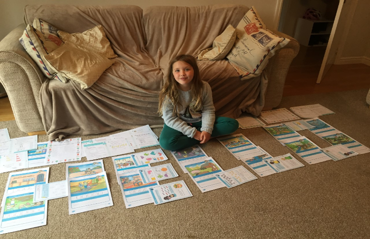 Sophie surrounded by all her fab learning!