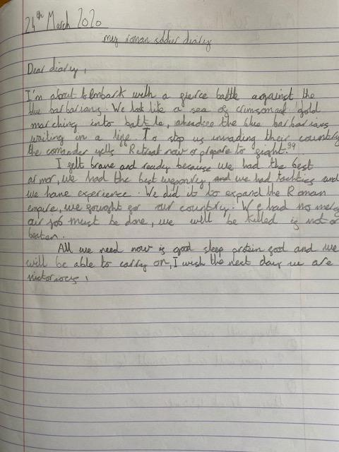 Another fantastic home learning piece of writing about a Roman soldier and his daily life. I think we can follow his advice of 'good sleep, protein food and we will be victorious' in our home learning!