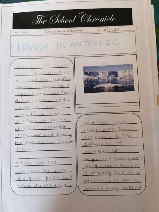 Zach has worked really hard on his news report...
