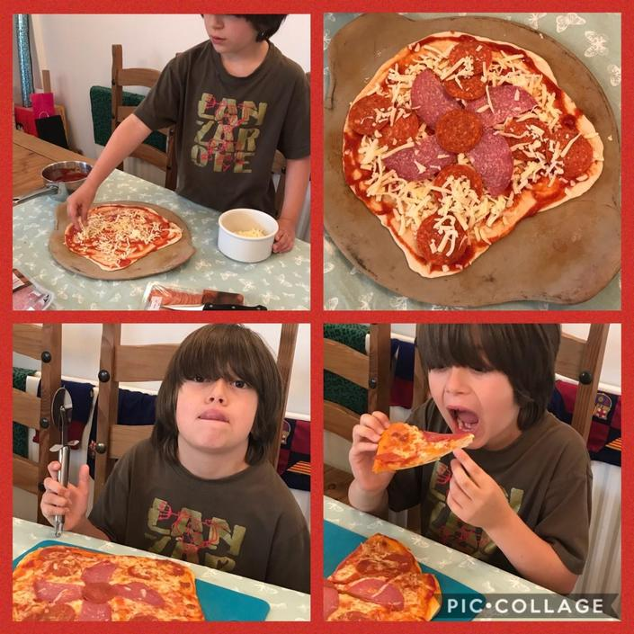 Zach loved making his pizza.