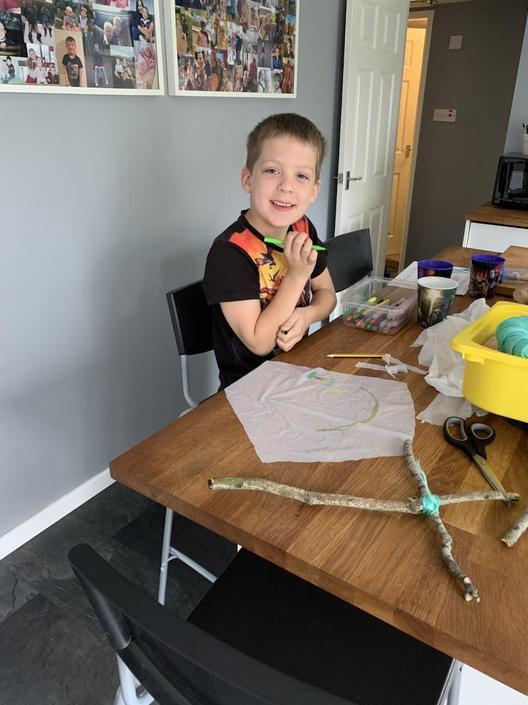 Noah has loved designing and making his kite.