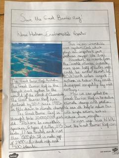 Wren has worked really hard on writing her news report this week - well done.