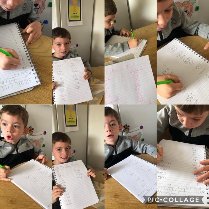 Noah has been working hard with his writing.