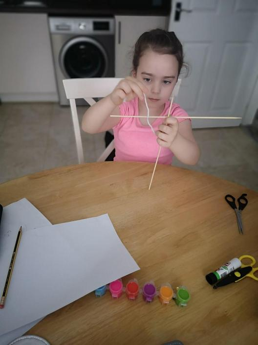 Erica has worked really hard making her kite.