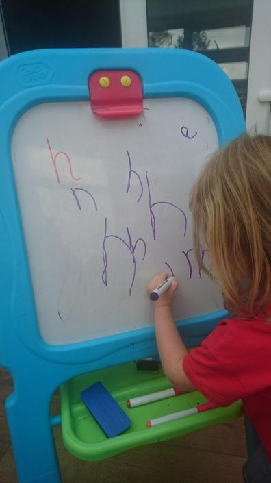 Cleo has been busy with letter formation
