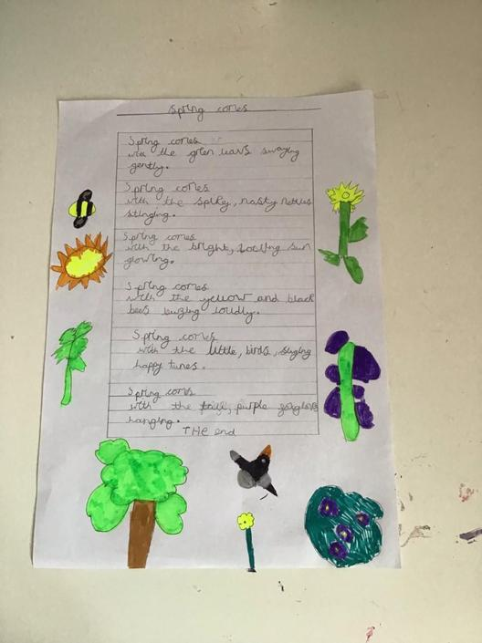 Lila has decorated her spring poem - well done!