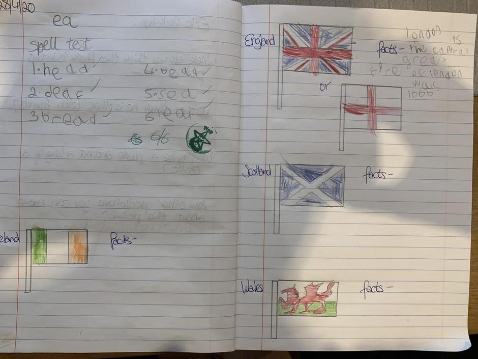 Logan has been working hard with his Geography.