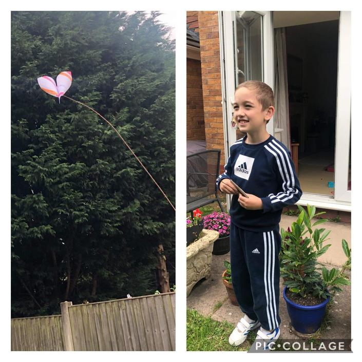 Rhys has been making his own kite.