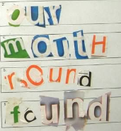 Use newspaper letter cuttings to spell each word