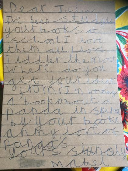 Mabel's letter to Julia Donaldson
