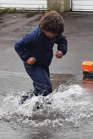 Rafferty had lots of fun in the rain last week!