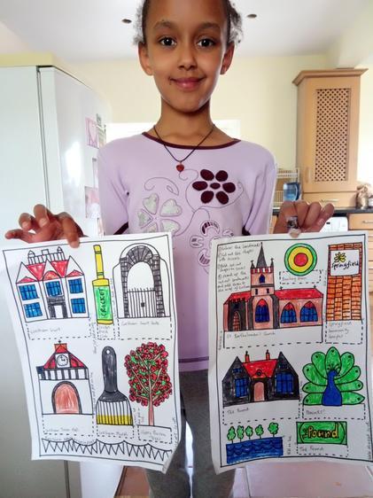 Celeste's art work on fold our town