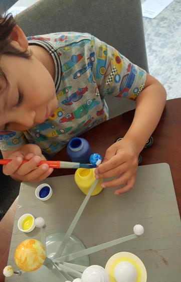 Joshua working hard on his project!