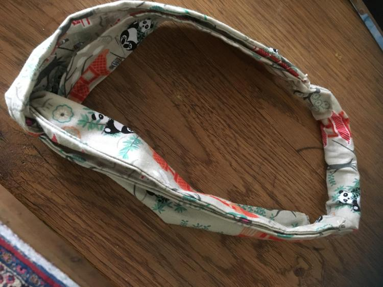 Mabel's hairband-made on her sister's sewing machine