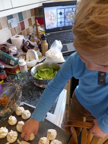 Aaron enjoyed 'China-Day'. He made dumplings ⭐️