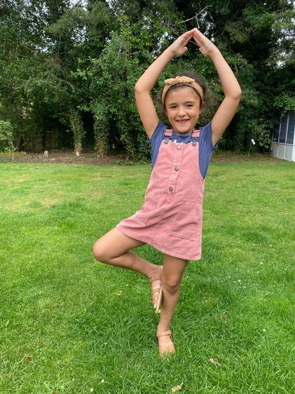Dahlia tried Yoga - what a great pose ⭐