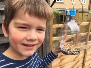 Aidan made a fantastic bird feeder this week ⭐