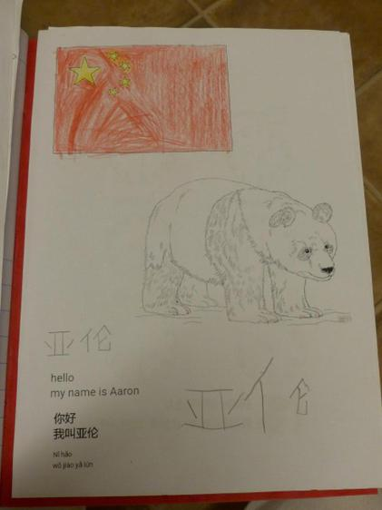 Aaron wrote his name in Chinese and created a flag