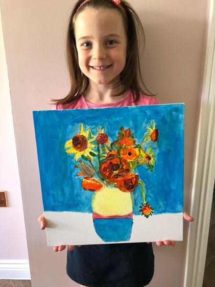 Isla and her Van Gough sunflowers