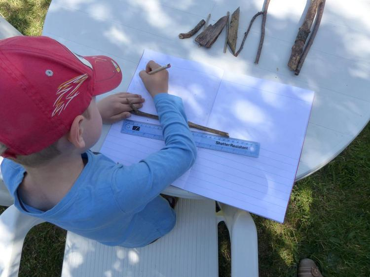 Aaron enjoyed measuring sticks and sorting them ⭐