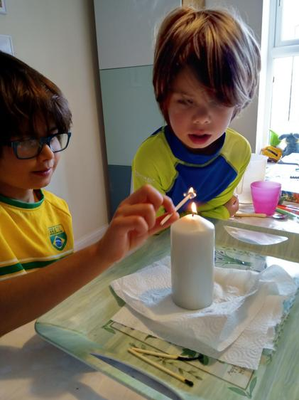 Jacob has been a scientist  - candle experiment⭐
