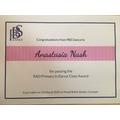 Anastasia's ballet certificate