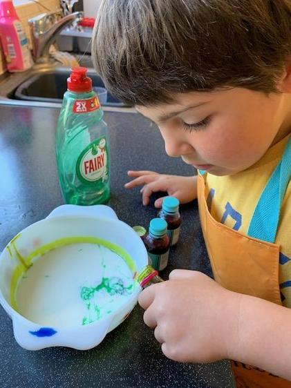 Luke using milk and dye - wow ⭐️