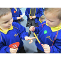 We made pasta necklaces in maths to count.