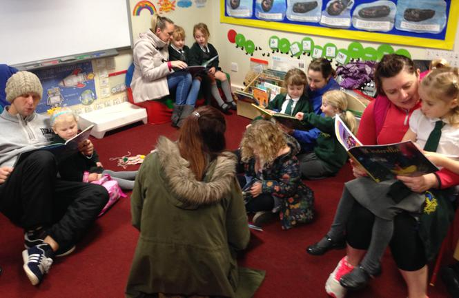 Sharing story books at the start of the day.