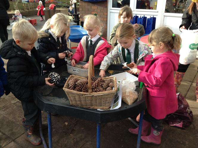 Making bird feeders with pine cones.