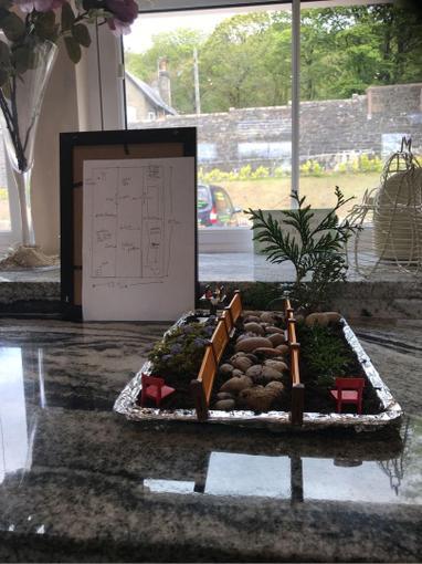 Miniature garden and plan