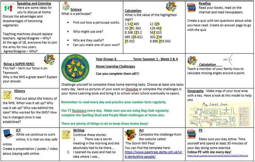 Home Learning Challenge - Summer Week 3 & 4